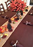 Thanksgiving Tablecloth, Napkins, Burlap Runner, Cornucopia Basket and Fall Decor Set
