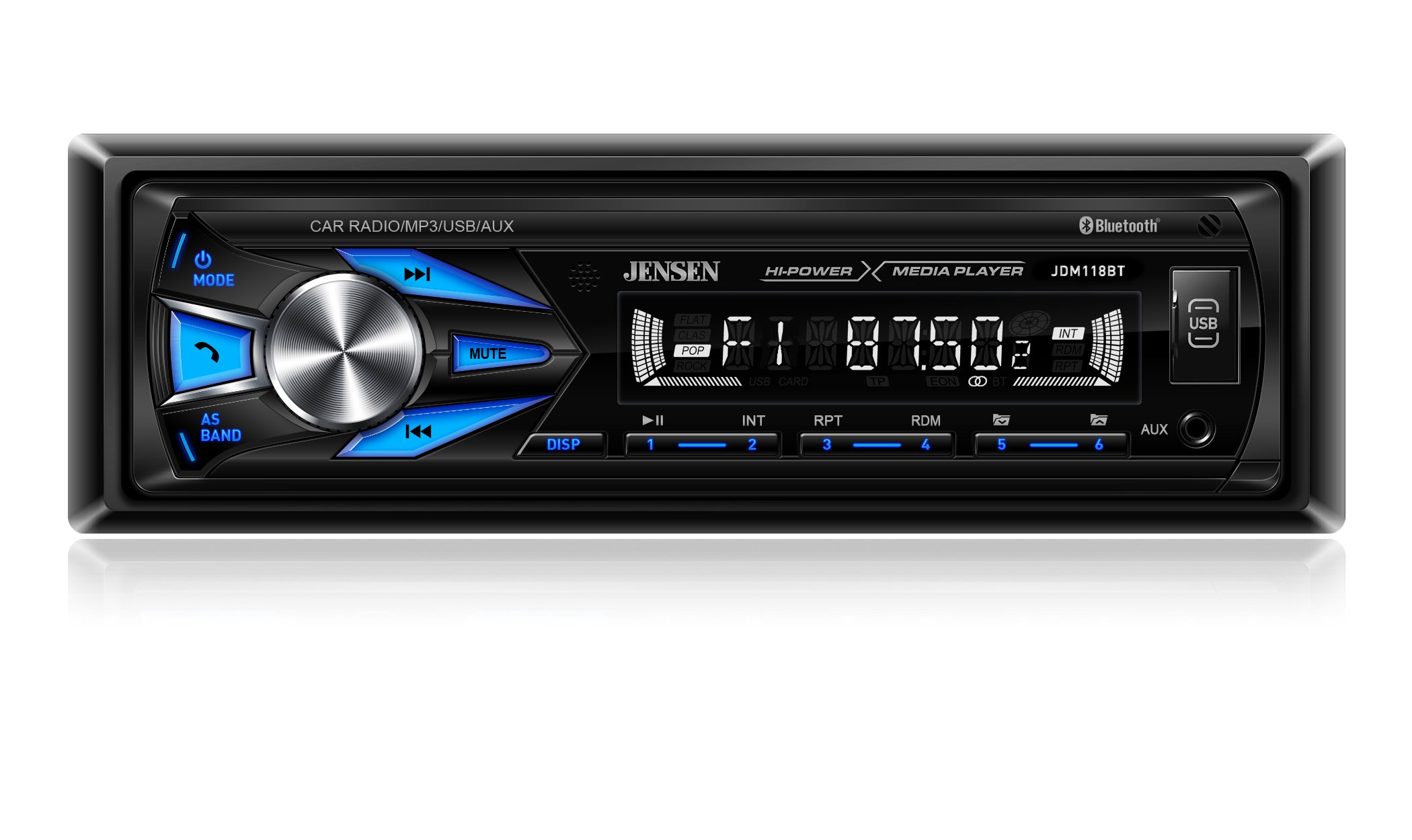 Jensen JDM118BT AM/FM Digital Media Receiver with Built-in Bluetooth (No CD PLayer) by JNSN