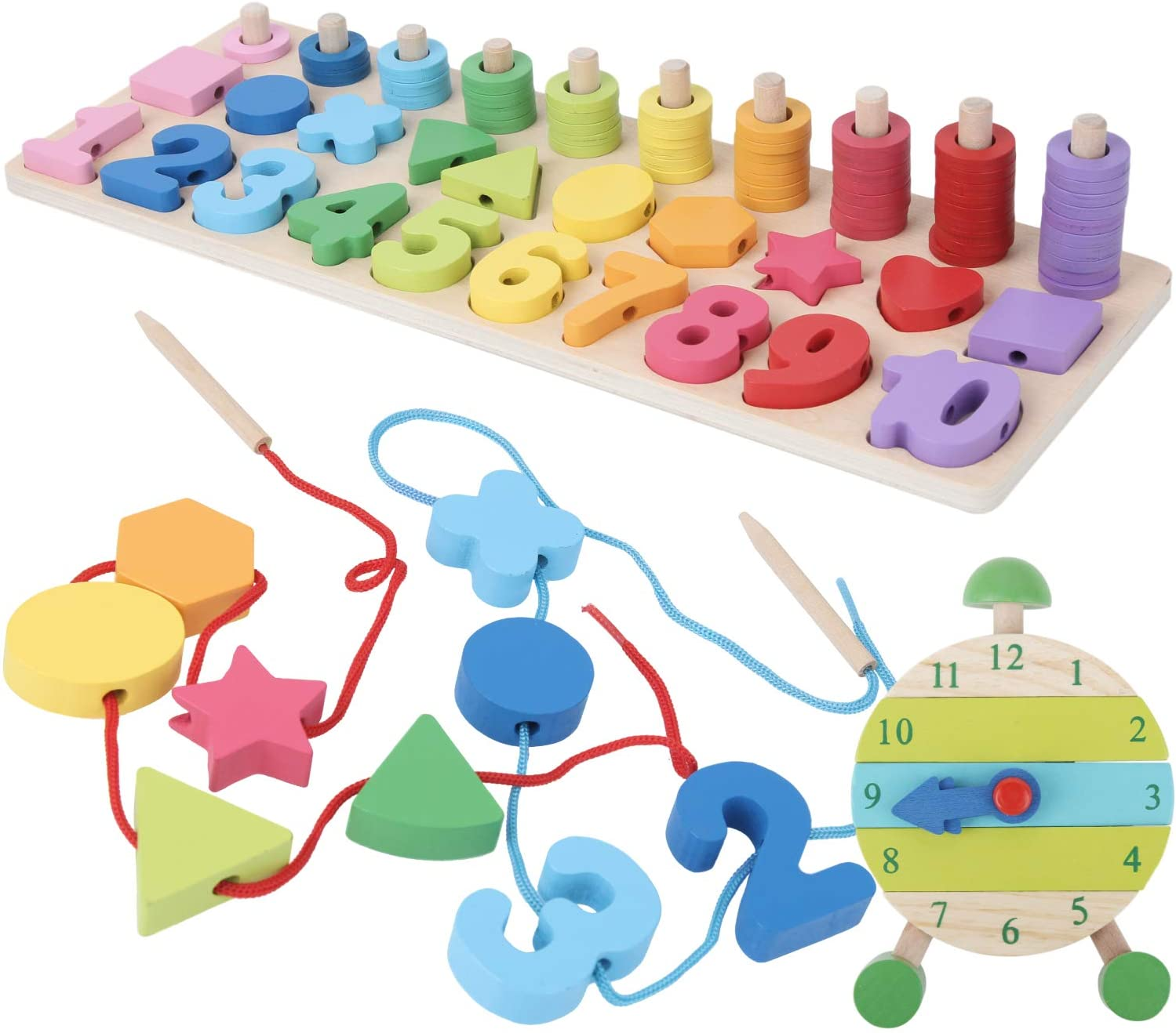 de Madera Digital de Dibujo de Aprendizaje Caja con Multi Funciones OMZGXGOD Montessori matem/áticas Juguete Juego de Juguetes de Madera Aprendiendo Matem/áticas Educaci/ón Temprana