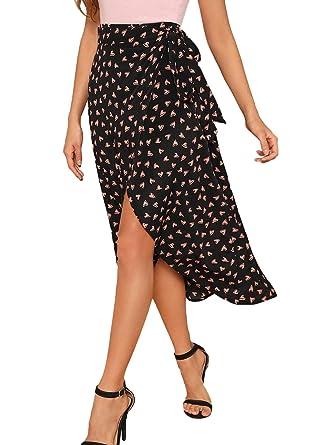 9c0eaf3fe528e Verdusa Women s Waist Knot Leopard Print High Waist Wrap Split Skirt  Black-Multi XS
