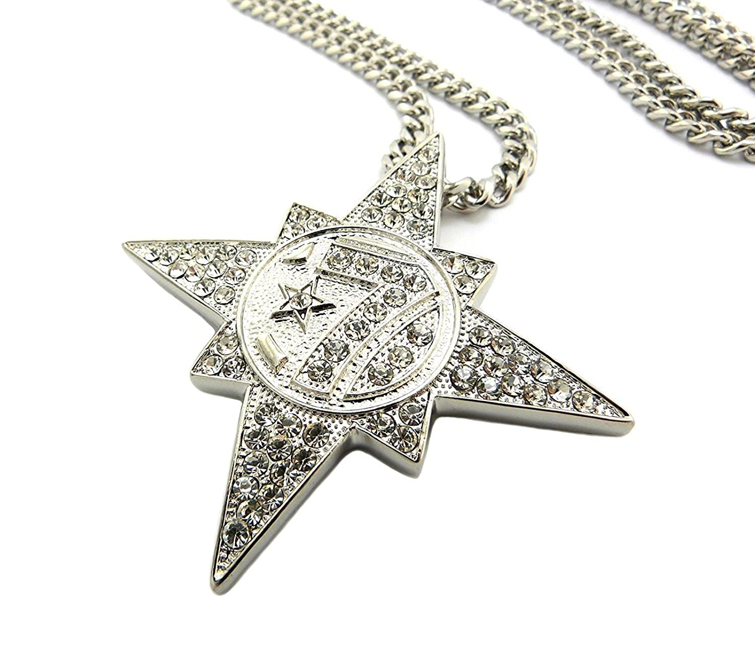 "New Iced Out 5PERCENTER 7Star Round Pendant w//30/"" Chain Hip Hop Necklace"