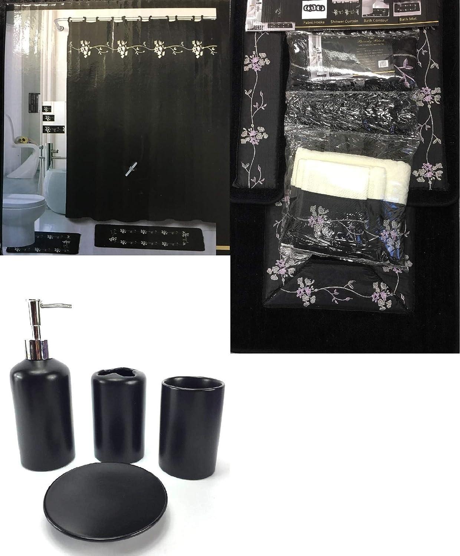 Amazon Com Wpm 22 Piece Bath Accessory Set Beverly Black Flower Bath Rug Set Shower Curtain Accessories Home Kitchen