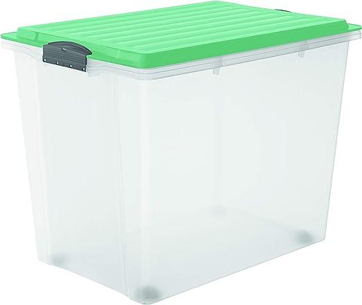 Rotho Compact Caja de almacenamiento de 70 l con tapa y ruedas ...