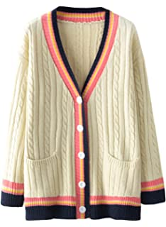 f9fad526f5 Doballa Women s Striped V Neck Button Down Cable Knit Twist Sweater Cardigan  with Pockets
