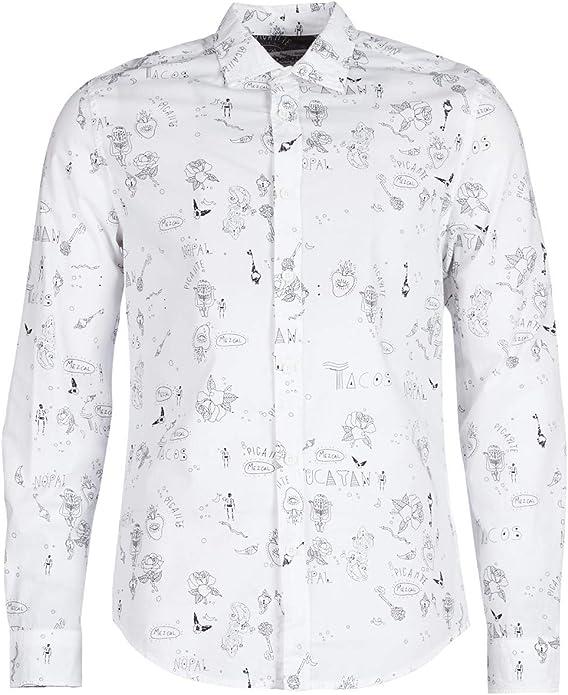 Desigual - Camisa EHUD Hombre Color: 1000 Talla: Size XL: Amazon.es: Ropa y accesorios