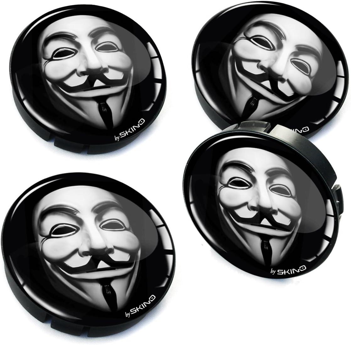 SkinoEu/® 4 x 60mm ABS Plastique 3D Gel Silicone Cache-Moyeu Capuchons de Centre Enjoliveurs de Roue Voiture Cache Moyeux Jante Universel Cache-Moyeux Anonyme Masque Anonymous Mask C 6