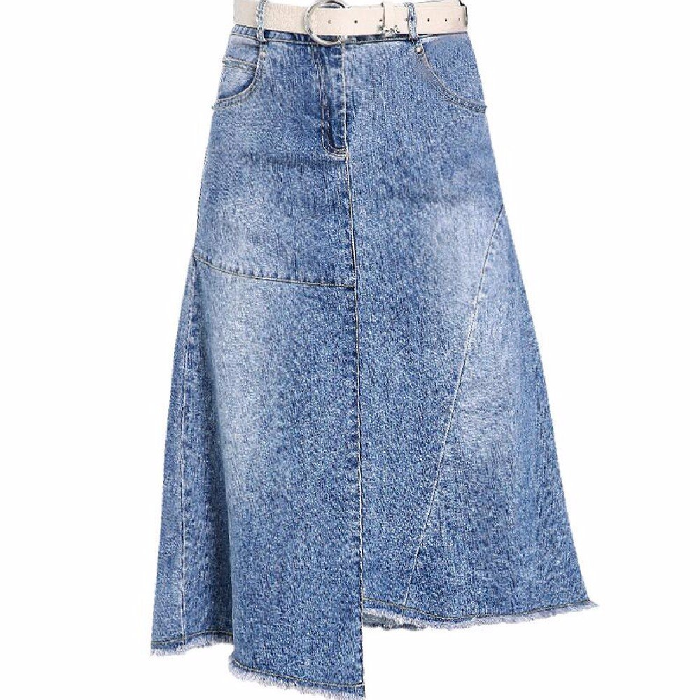 QPSSP Mittlerer Länge, Unregelmäßige Jeans - Rock, Hohe Taille Einen Rock, der Regenschirm Rock, Frauen - Kleid, Halb Rock. QPSSP Mittlerer Länge