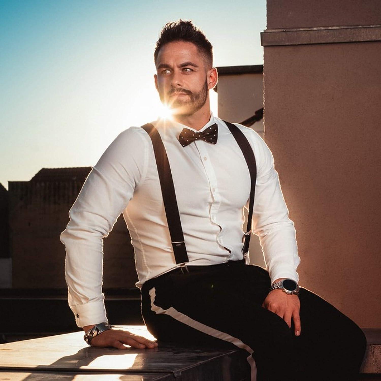 FLIEGENFAENGER Tirantes para hombre, color negro, 3,5 cm de ancho, con 4 clips en forma de X para un agarre perfecto a juego con camisa, pajarita, ...