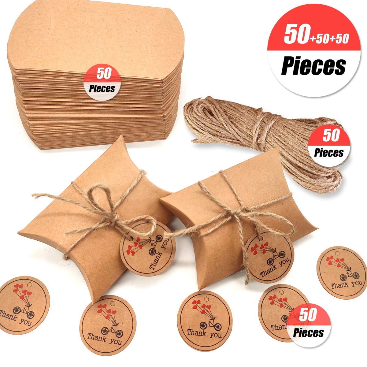 YuChiSX 50PCS Carta Kraft Cuscino Shape Vintage Wedding Favor Gift Box Party Candy Borsa con Corda Creativo Felice Dolce Regalo Verde pacchi Cowhide Pillow Box Multi Festa di Compleanno