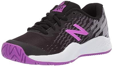 save off bd978 92101 New Balance Boys' Kid's 996v3 Hard Court Tennis Shoe, Black/Voltage Violet,