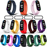 Milomdoi [19 Items] 15 Colors Straps Bracelet + 4pack PET Screen Protector for Xiaomi Mi Band 6/Mi Band 5 Strap, Soft Silicon