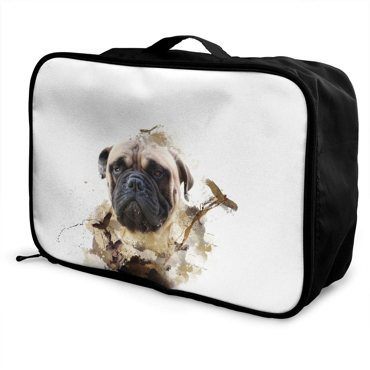 Travel Luggage Duffle Bag Lightweight Portable Handbag Animals Bull Dog Print Large Capacity Waterproof Foldable Storage Tote