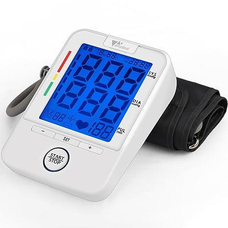 Amzdeal Tensiómetro de Brazo Electrónico de Presión Arterial con Medición de la Frecuencia Cardíaca, Monitor Digital de Presión Arterial con 2 x 40 ...