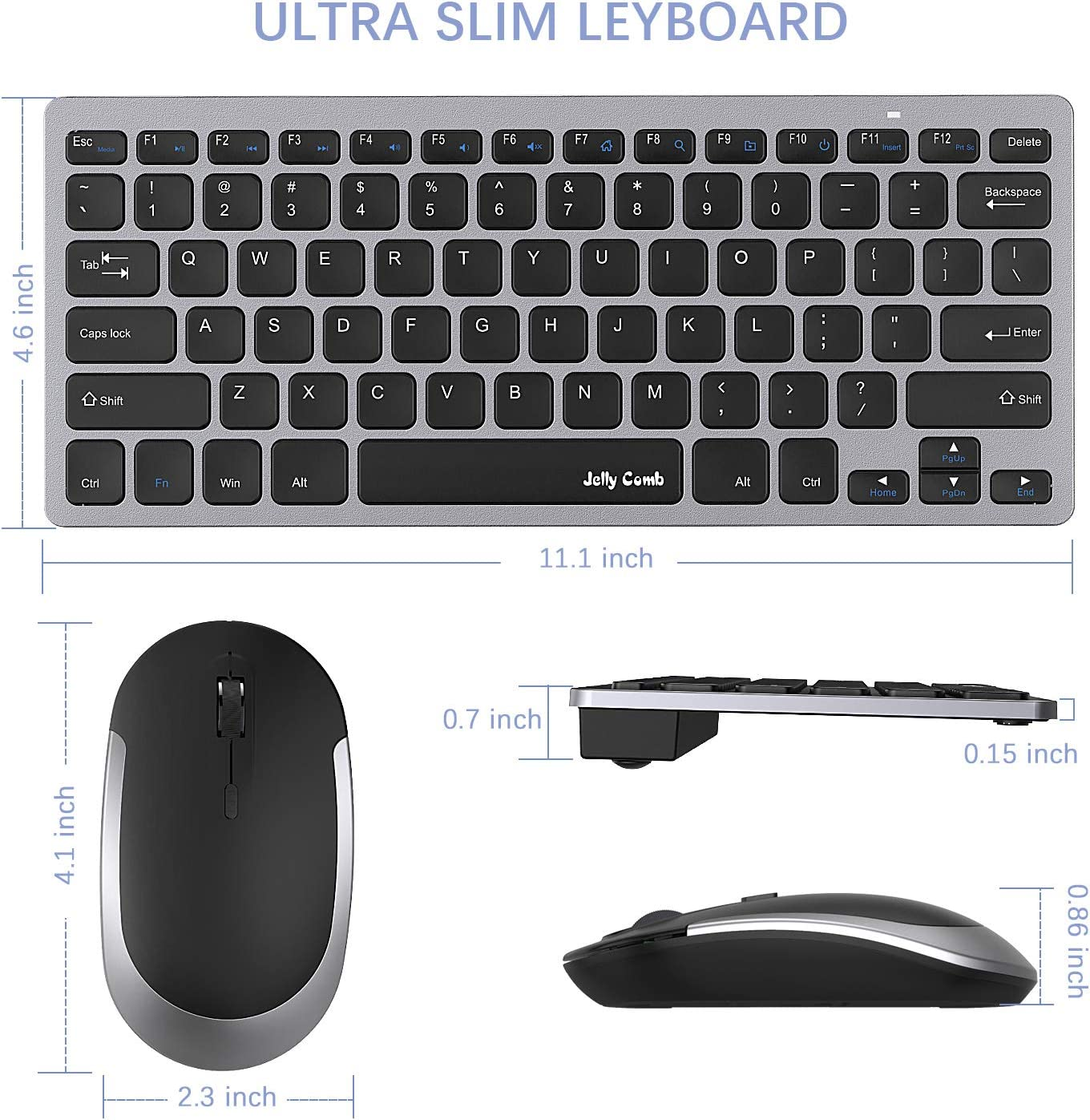 Jelly Comb 2.4G Slim Compact Quiet Small Keyboard and Mouse Combo for Windows Laptop Notebook-Black and Gray Wireless Keyboard and Mouse PC