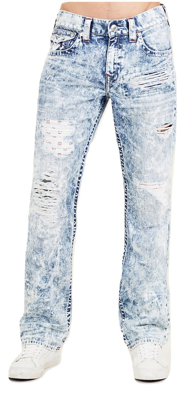 True Religion Men's Straight Leg Relaxed Bandana Ripped Patch Jeans w/Flaps in Summer Melody (38)