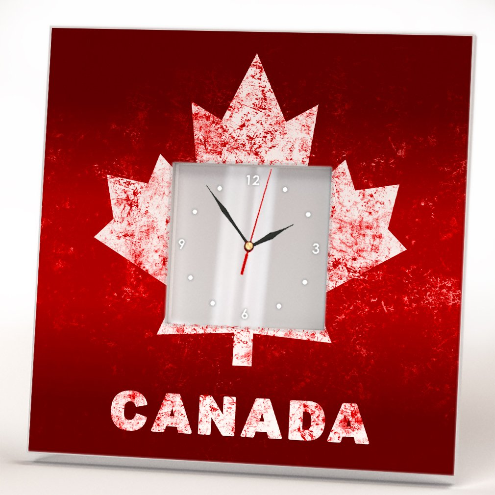 Canada Flag Maple Leaf Wall Clock Mirror Canadian Fan Art Home Room Decor Print Design Patriot Gift