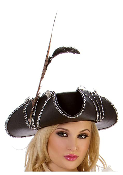Women's Rogue Pirate Hat Accented with Black and Silver Braid, Black Ribbon Trim, a silver and Black Pendant and a Black Feather by by Starline