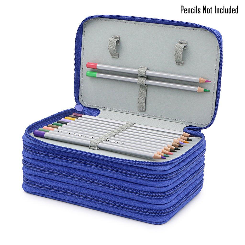 Blue BTSKY Handy Wareable Oxford Pencil Bag 72 Slots Pencil Organizer Portable Watercolor Pencil Wrap Case