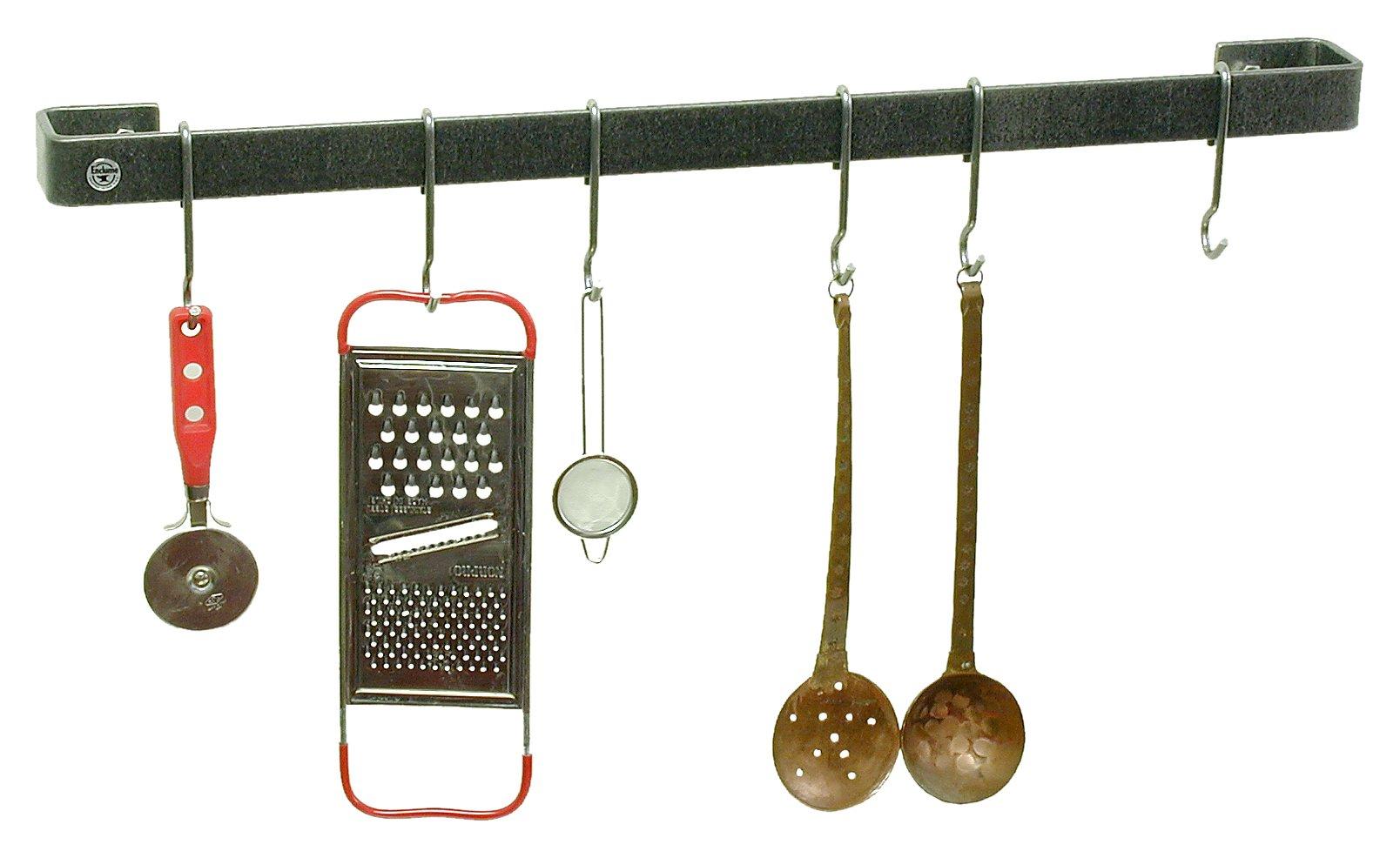 Enclume Premier 30-Inch Utensil Bar Wall Pot Rack, Hammered Steel