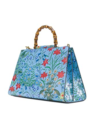 a6dfc3f86 Amazon.com: Gucci Flora Azure Shanghai Blue Large Floral Handbag Italy Bag  Handbag Flower Bamboo New: Clothing
