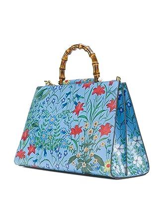 fbbba0e87162 Amazon.com  Gucci Flora Azure Shanghai Blue Large Floral Handbag Italy Bag  Handbag Flower Bamboo New  Clothing