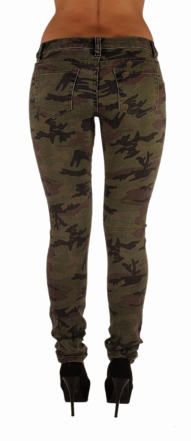 Amazon.com: VIP Jeans Women's Five Pockets Camouflage Stretch ...