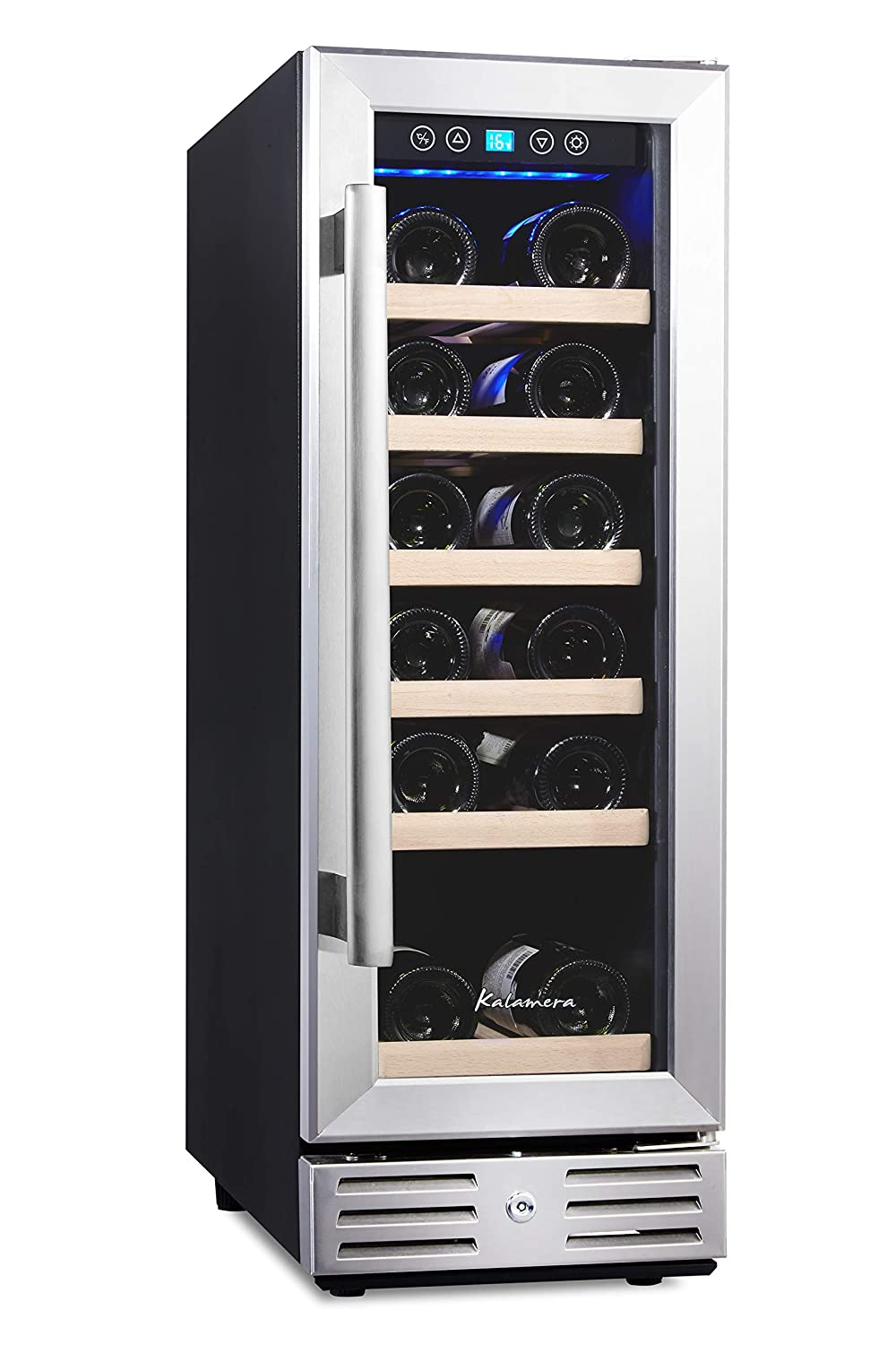 Kalamera 12'' Wine Cooler 18 Bottle Built-in or Freestanding with Stainless Steel & Double-Layer Tempered Glass Door and Temperature Memory Function