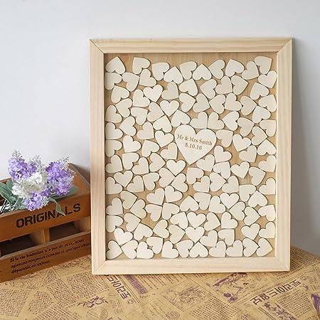 Fiançailles Cadeau Cadre Photo personnalisé anniversaire mariage en bois COEURS 5 x 7