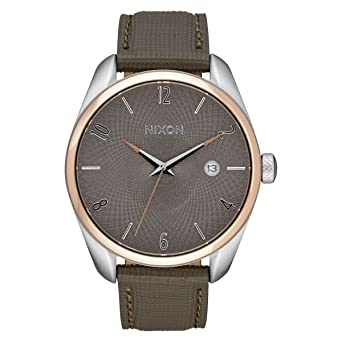 aba30488b Image Unavailable. Image not available for. Color: Nixon Womens The Bullet  Leather Watch - Rose Gold/Taupe