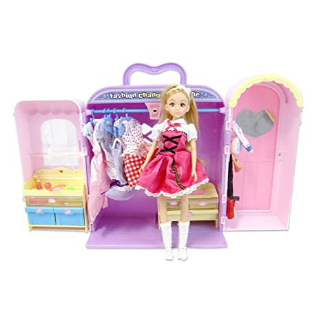 Little Big World Dream Closet Play Set With Doll, Clothing, And  Accessories, Pink