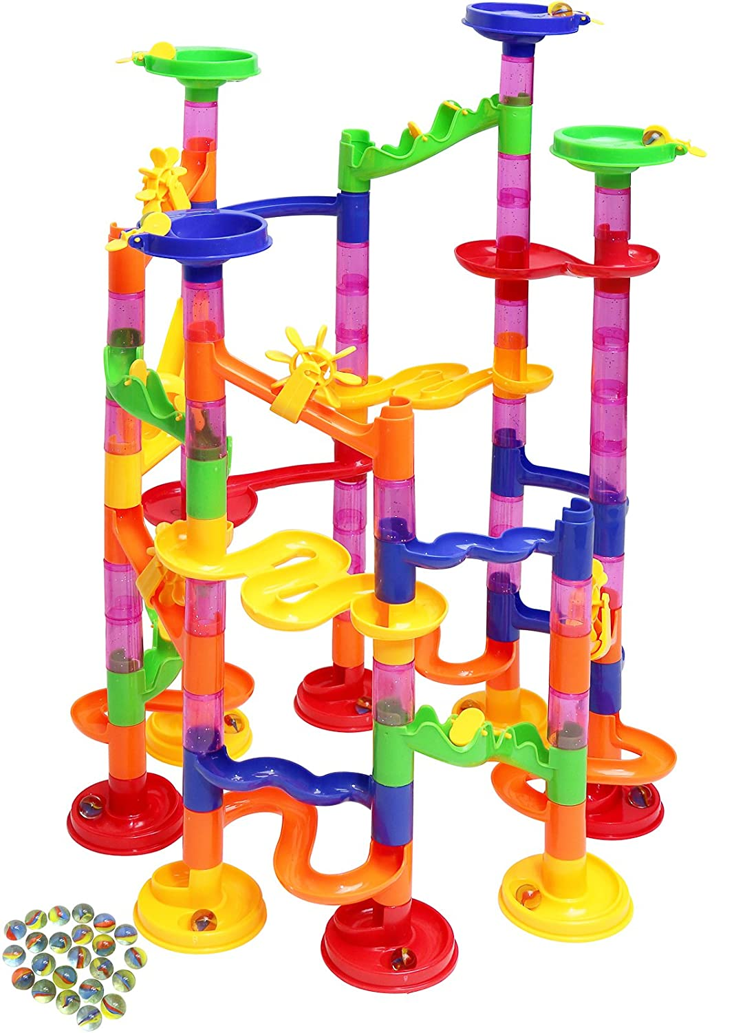 Kiddie Play Marble Run Set for Kids 75 Translucent Marbulous Pieces 30 Glass Marbles