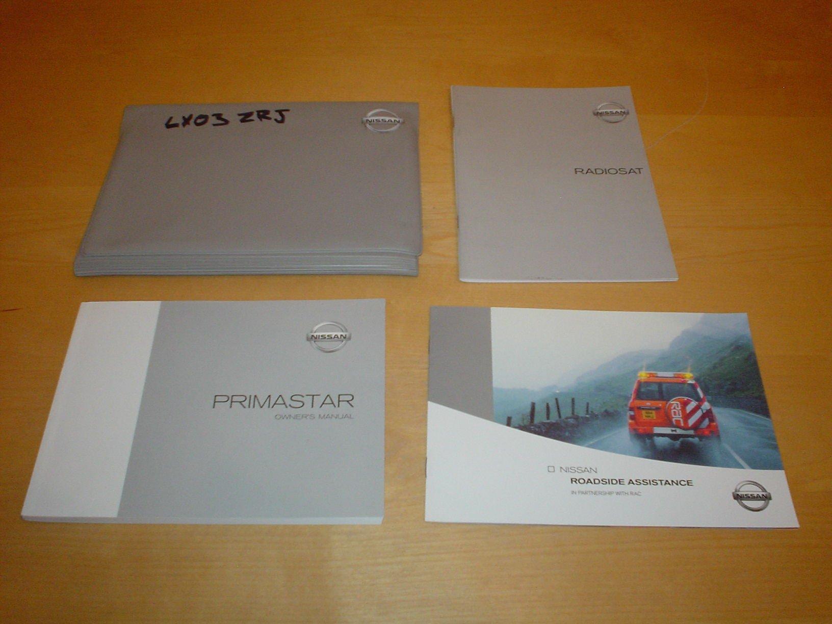 NISSAN PRIMASTAR OWNERS MANUAL HANDBOOK PRIMA STAR VAN COMBI MINIBUS - 2.0  Litre PETROL ENGINE 1.9 dCi DIESEL - OWNER'S HAND BOOK MANUAL:  Amazon.co.uk: ...