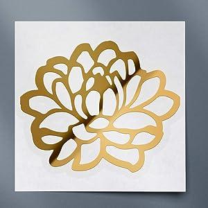 USC DECALS Dahlia Flower 1 (Metallic Gold) (Set of 2) Premium Waterproof Vinyl Decal Stickers for Laptop Phone Accessory Helmet Car Window Bumper Mug Tuber Cup Door Wall Decoration