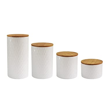 American Atelier 6863-CAN-RB Diamond Embossed Canister Set, 4.3  x 4.3  x 8.25 , White