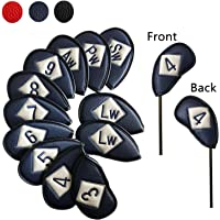 Golf Headcovers Irons Head Cover Synthetic Leather Deluxe For Left Right Handed Golfer, Golf Club Covers Iron Value Set of 12 Fit Titleist Callaway Taylormade Nike Yamaha Wilson And More