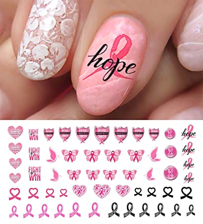 Amazon Breast Cancer Awareness Water Slide Nail Art Decals Set