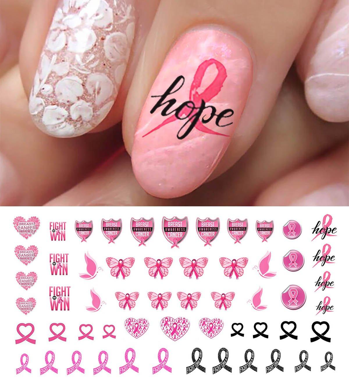 Amazon.com : Cherish Nail Decals Breast Cancer Pink Ribbon 2 Sheets ...