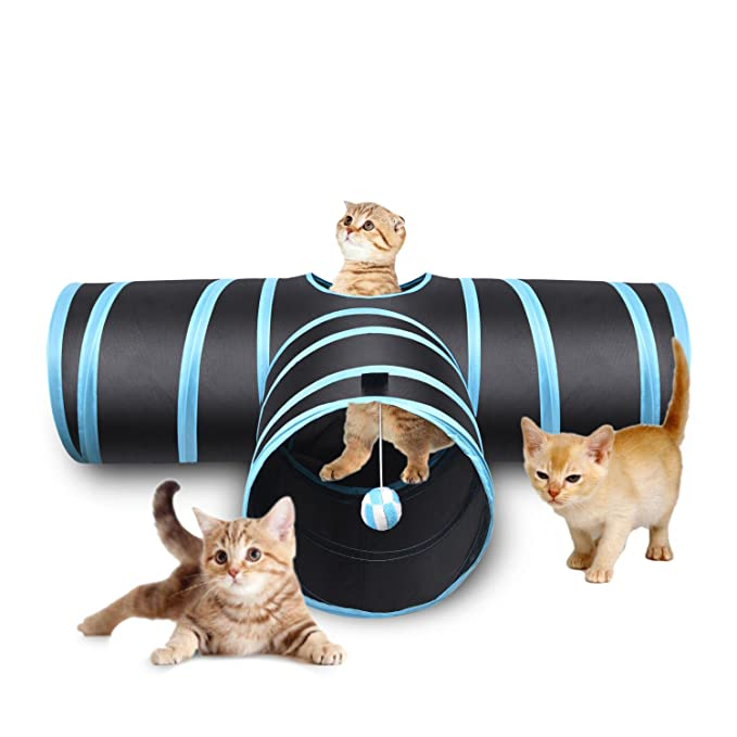 Creaker 3 Way Cat Tunnel, Collapsible Pet Toy Tunnel with Ball for Cat, Puppy, Kitty, Kitten, Rabbit