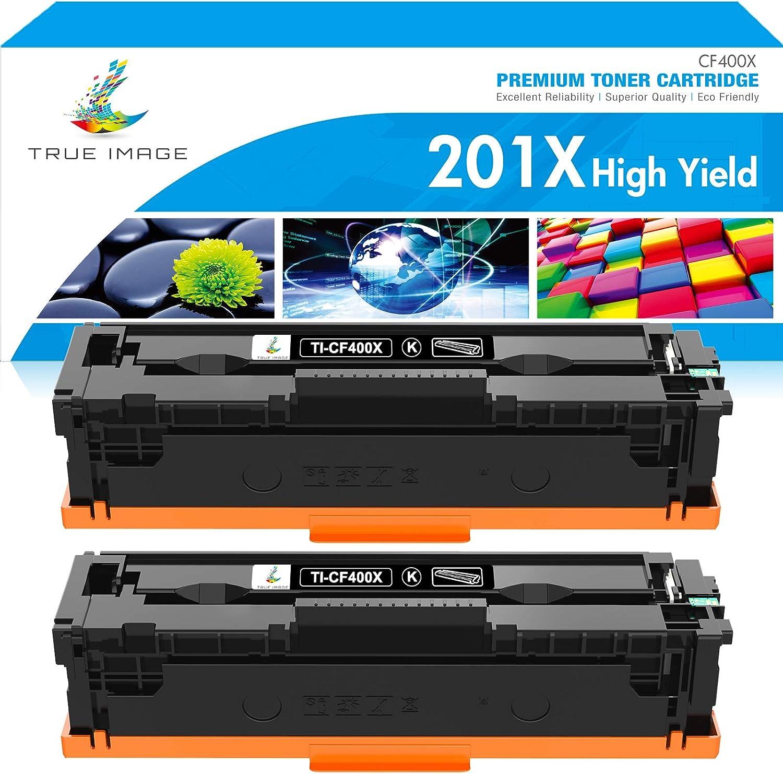 TRUE IMAGE Compatible Toner Cartridge Replacement for HP 201X CF400X 201A CF400A Color Laserjet Pro MFP M277dw M277c6 M252dw M252n M252 M277 M277n 277dw Ink Printer (Black, 2-Pack)