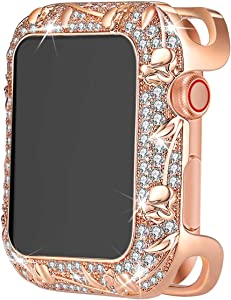 Bling Cases Compatible for Apple Watch 38mm 40mm 42mm 44mm, Rhinestone Crystal Diamond Stainless Steel Cover Protector for iWatch Series 6 SE Series 5 Series 4 Series 3/2/1, Rose Gold Flower, 38mm