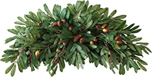 AOJIE 29.9 Inch Artificial Greenery Swag with Olives,Handmade Floral Garland Artificial Green Leaves Wreath Wedding Backdrop Arch Wall Decor,Front Door Wreath for Home Window Decoration
