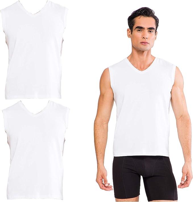 Damat Juego de 2 camisetas de algodón para hombre, sin mangas, con cuello de pico, transpirables y cómodas: Amazon.es: Ropa y accesorios