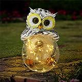 Olekki Garden Owl Figurines Solar Lights Outdoor Decorative   Garden Decor Solar Statue Outdoor Decorations for Patio, Yard,