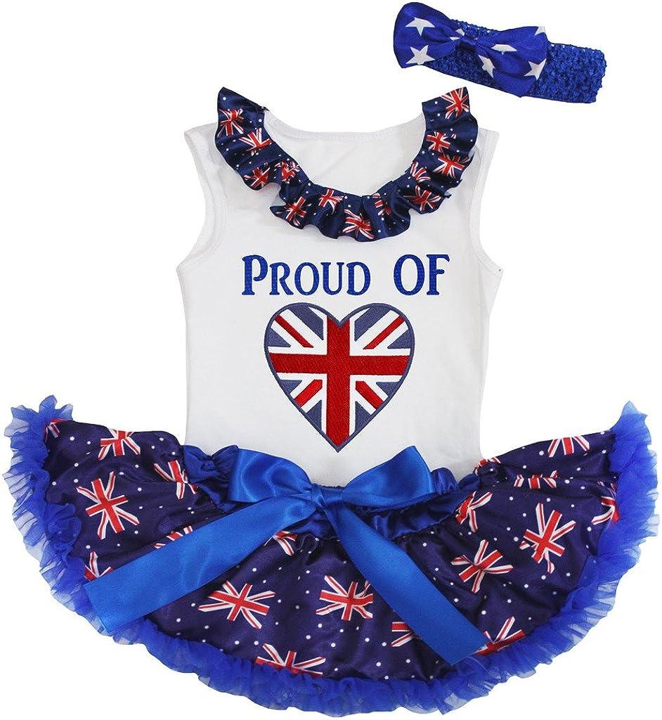 petitebellaイギリスのハートの誇りホワイトシャツUKフラグブルーベビースカートセット3 – 12 M