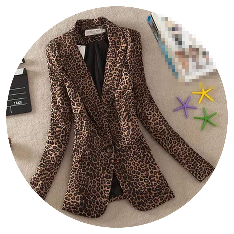 1 Women Coat Spring Autumn New Long Leopard Long Sleeve Casual Small Suit Jacket Women