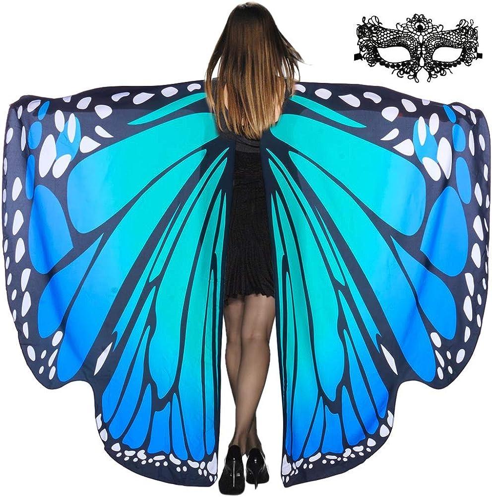 Lulu Home Halloween Women Costume, Blue Butterfly Wings Cape for Women Fairy Costume, Halloween Shawl Costume Wings for Adult Women
