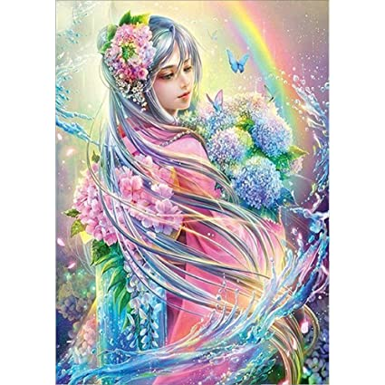 620d23ab1c 5D DIY Diamond Painting by Numbers Kits, Crystal Embroidery Cross Stitch  Rhinestone Mosaic Drawing Art Craft Home Wall Decor, Anime Beauty:  Amazon.co.uk: ...