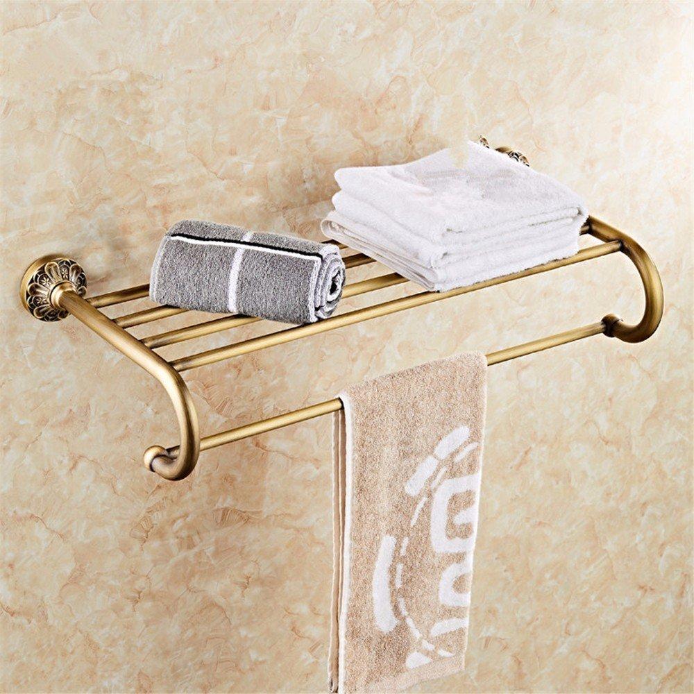 HOMEE European Style Bathroom Full Copper Retro Towel Rack Bathroom Personalized Creative Shelf,A