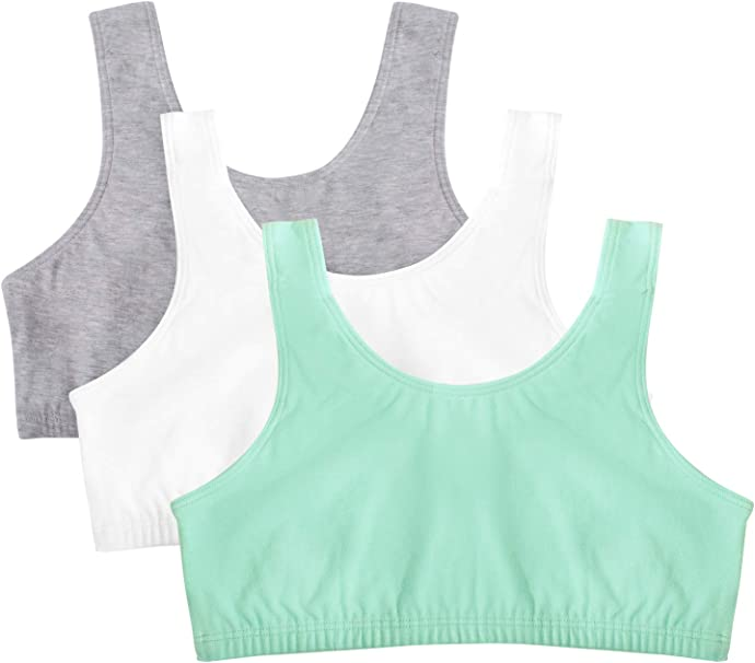 Pack of 3 Fruit of the Loom Girls Cotton Built-up Sport 3 Pack Sports Bra