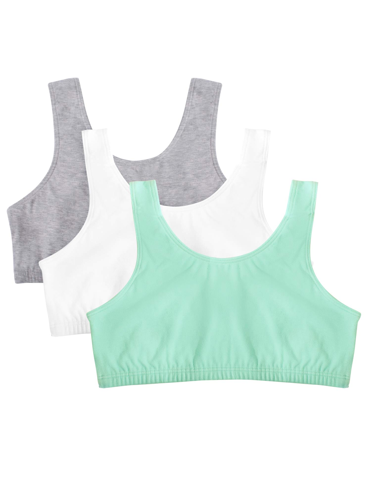 Fruit of the Loom Women's Built-Up Sports Bra 3 Pack Bra, Mint chip/White/Grey Heather, 34